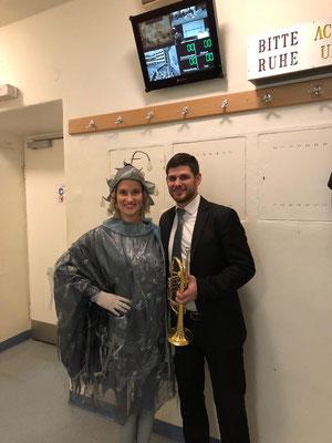 """als """"Taumännchen"""" mit meinem Mann Michael (Trompete) an der Volksoper Wien, 2019"""