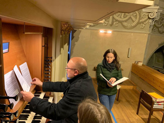 Probe mit Wolfgang Horvath für den Gottesdienst in der Pfarrkirche Lockenhaus, Dez 2020