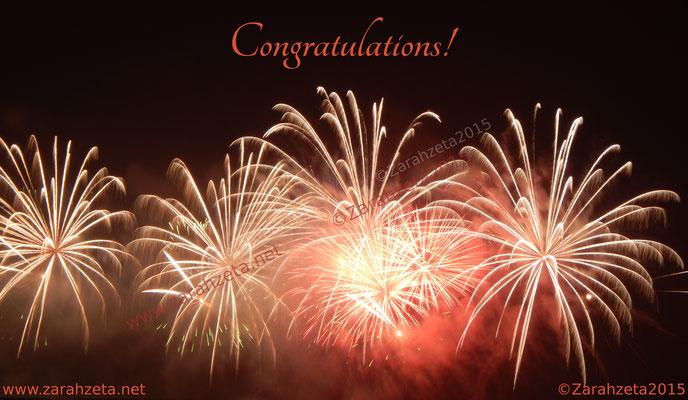Feuerwerk mit Glückwunsch