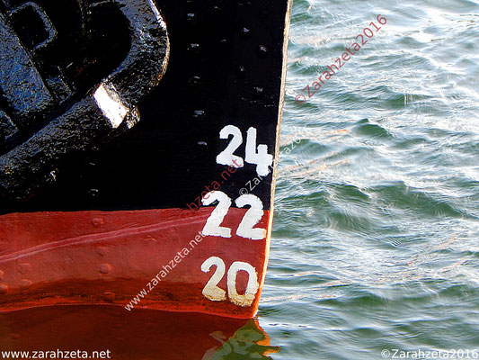 Tiefgangmesser am Boot