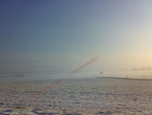 Weite Schneelandschaft auf dem flachen Land