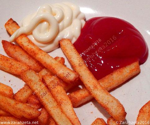 Zarahzetas Fotowand mit Essen & Trinken und Pommes, Ketchup und Mayo