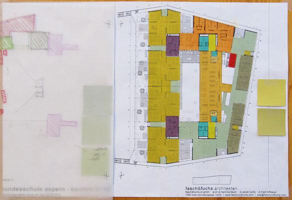 Ebene 1, Funktionszusammenhänge; Entwurf, Farbkonzept