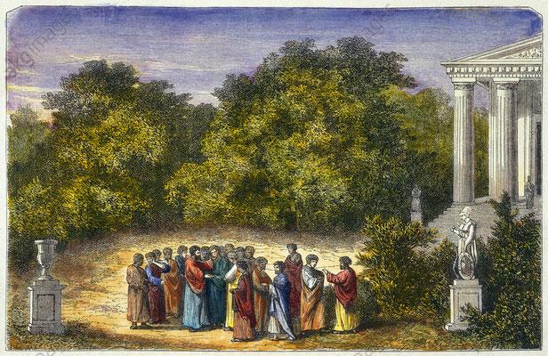 Platon und seine Schüler im Garten der Akademie; Quelle: Sammlung Archiv f. Kunst u. Geschichte, Berlin