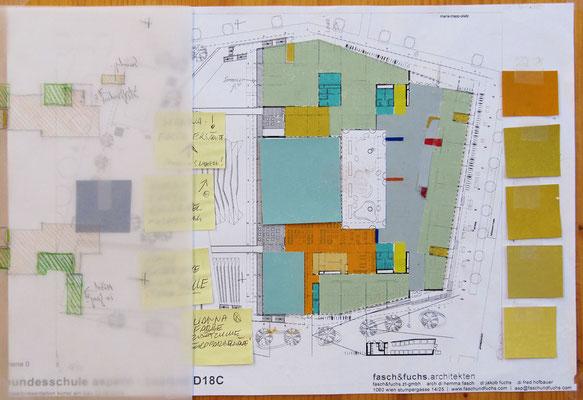 Ebene 0, Funktionszusammenhänge; Entwurf, Farbkonzept