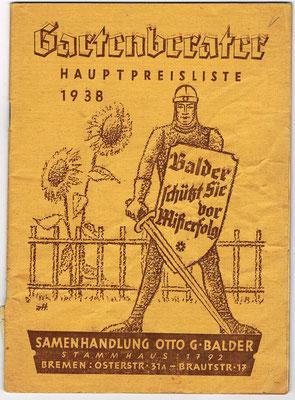 Balders Preisliste von 1938!