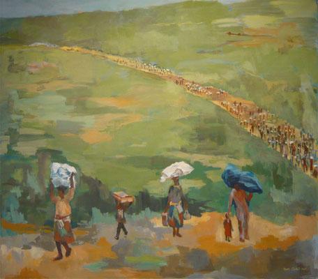Flucht und Hoffnung - Acryl auf LW - 140 x 160 cm