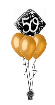 bukiet balonowy 50 lat złoty