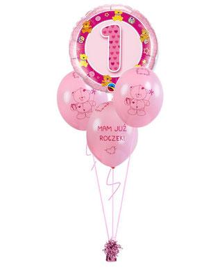 bukiet balonowy roczek różowy