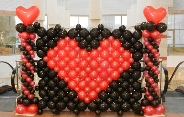 ścianka balonowa walentynkowa