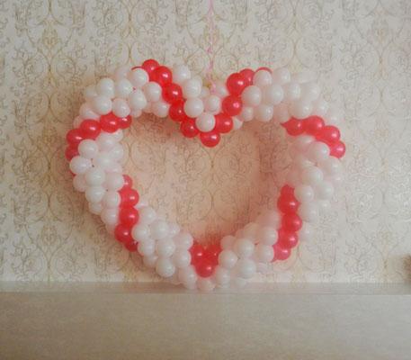 serce balonowe czerwono-białe