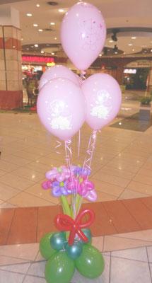 kwiatki z balonami z helem
