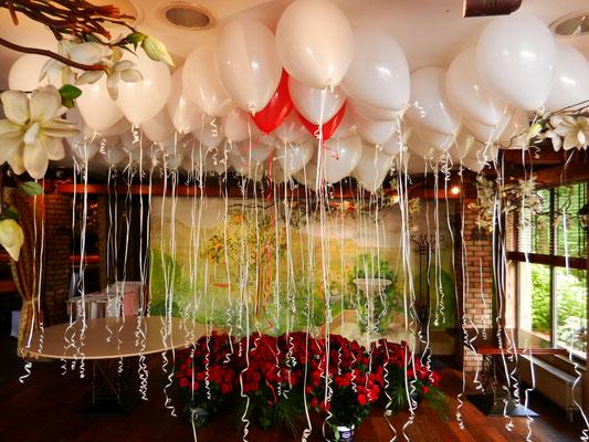 balony z helem wesele dekoracja