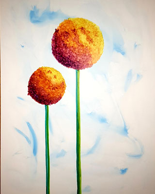 Allium orange - Alcohol Ink - 30x40 cm