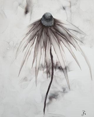 Flower grey - Alcohol Ink - 20x30 cm