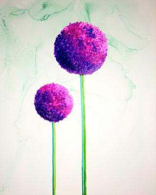 Allium purpur- Alcohol Ink - 30x40 cm