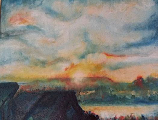 "Carmen Moreno. ""Bretzfeld al amanecer"", óleo sobre lienzo, 50 x 40 cm."