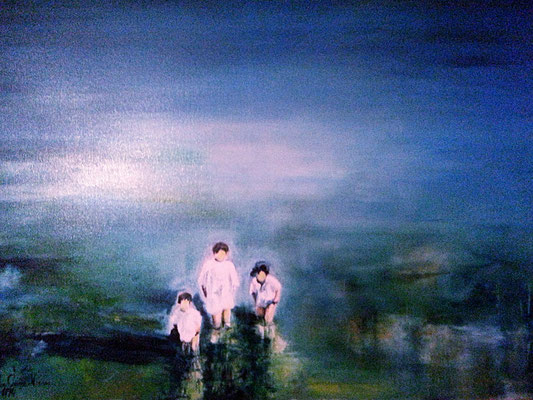 "Carmen Moreno. ""The Kids"", oil on canvas, 100 x 80 cm., 1994."