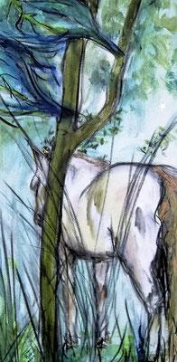 """Carmen Moreno. """"Las Praderas del Paraíso II"""", acrílico, carbón y Titanio sobre lienzo, 50 x 100 cm, 2009."""