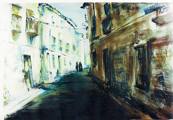 VENDIDO. Carmen Moreno. Don Juan el cura, óleo sobre lienzo, 100 x 80 cm. 1995.