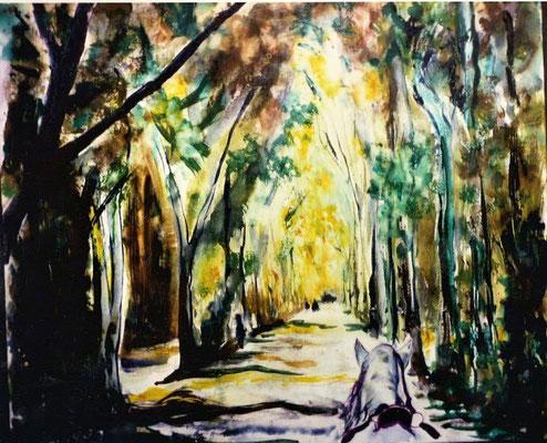 """VENDIDO. Carmen Moreno. """"Sevilla, el parque de Mª Luisa"""", Témpera sobre lienzo, 60 x 50 cm."""