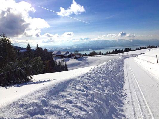 Der Innauer Hof im Winter - mit atemberaubendem Blick auf den Bodensee