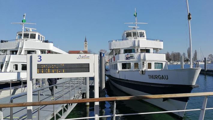 MS Thurgau ist das Impfschiff. So können in Romanshorn,  Arbon und Kreuzlingen Corona Impfungen durchgeführt werden.