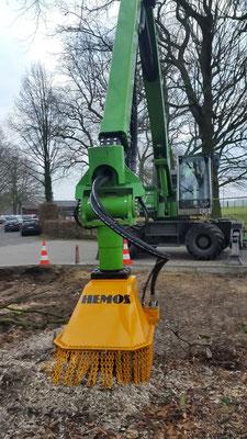 Hemos stobbenfreeskop S650-110 | Gemonteerd aan Sennebogen 718M van Baumdienst Enbergs GmbH (Bottrop-Kirchellen, Duitsland. jan 2015)