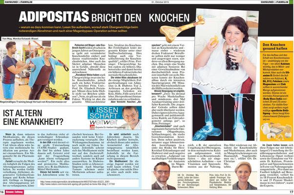 OA Dr. Christian Muschitz in der Kronen Zeitung: Adipositas bricht den Knochen