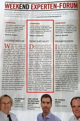Univ.-Lektor Dr. Wolfgang Gruther beantwortet die Leserfrage im weekend Magazin: Keine Diät hilft!