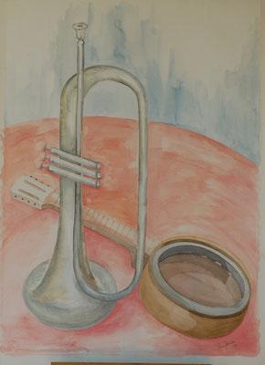 Titel: Trompet Materiaal: Aquarel