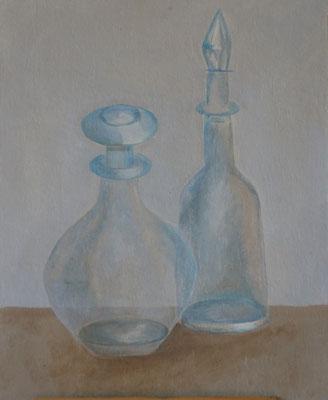 Titel: Doorzichtige flessen Materiaal: Aquarel