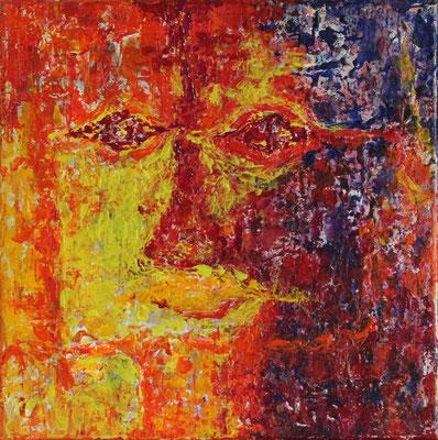 Titel: Dubbelportret in rood Materiaal:  acryl Afmeting: 30cm x 30cm