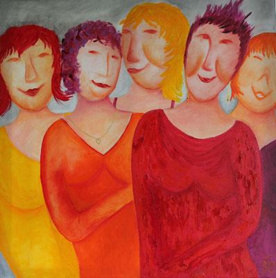 Titel: Ronde vrouwen Materiaal: Acryl Afmeting: 70cm x 70cm