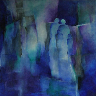 Titel: Blauw gezin Materiaal: Alcyd/Olie Afmeting: 70cm x 70cm