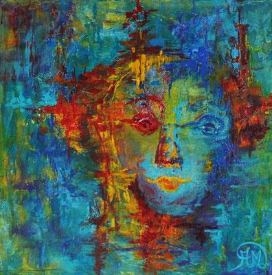 Titel: Kleurig hoofd Materiaal: Acryl Afmeting: 40cm x 40cm
