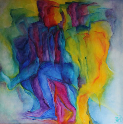 Titel: Colorfull people Materiaal: Alcyd Afmeting: 70cm x 70cm