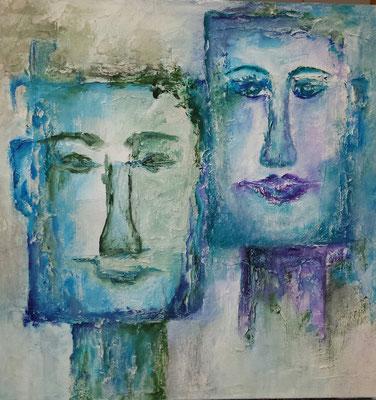Titel: Spiegelen Materiaal: Acryl Afmeting: 50cm x 50cm
