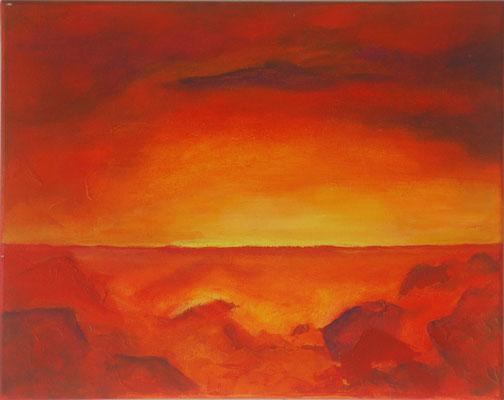 Titel: Warme zon Materiaal: Acryl Afmeting: 60cm x 60cm