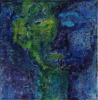 Titel: Dubbelportret in blauw Materiaal:  acryl Afmeting: 30cm x 30cm