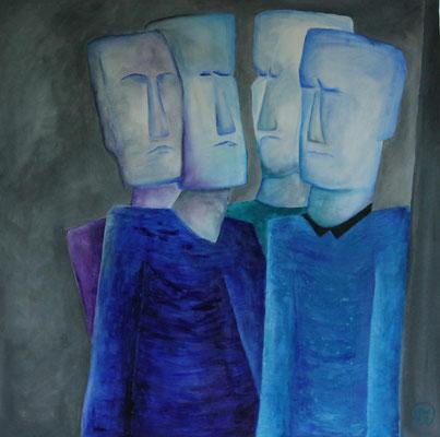Titel: Blokmannen Materiaal: Acryl Afmeting: 70cm x 70cm