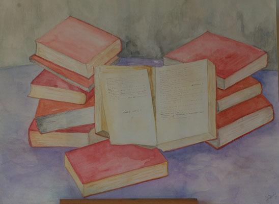 Titel: Boeken Materiaal: Aquarel