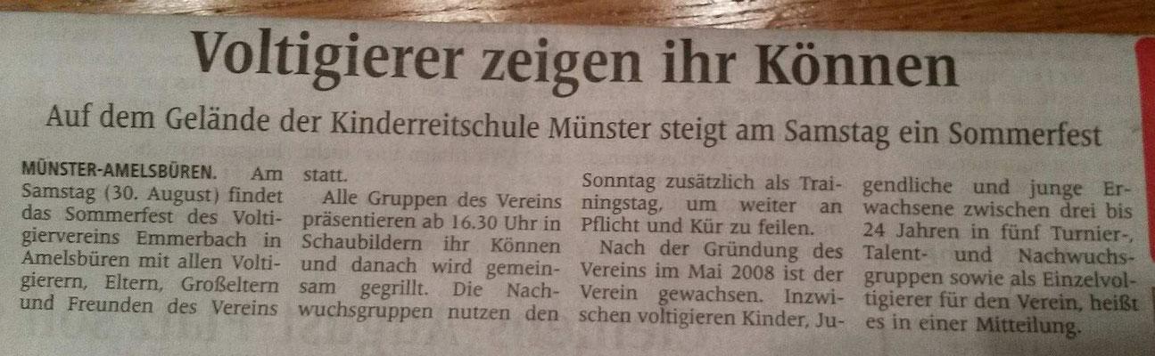 Westfälische Nachrichten - 28.08.2014