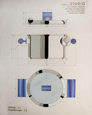 Produktdesign: Topfserie Studio (Rasterfolie, Copicmarker, Tusche)