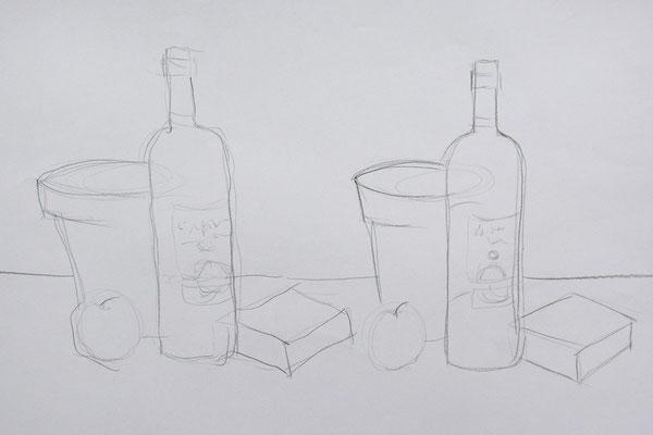 Graphit: Stilleben mit Rechts und Links - 5 Minuten Skizze