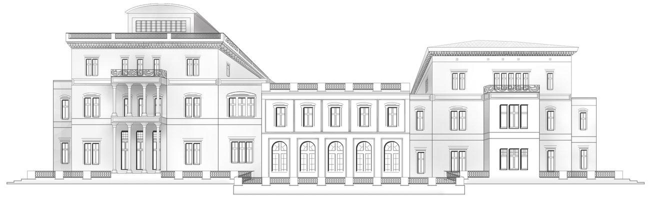 Photoshop-Zeichnung: Villa Hügel