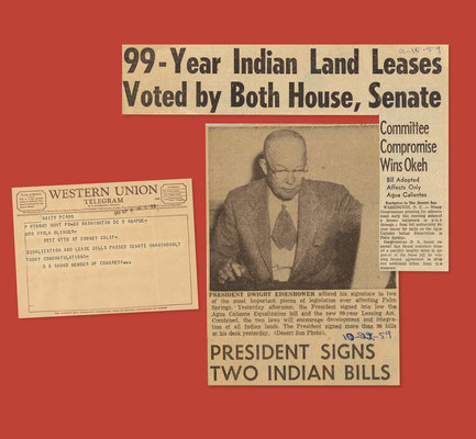 President Dwight Eisenhower's signing into law the historic Long-Term Leasing and Equalization Acts.  The Desert Sun, October 22, 1959.