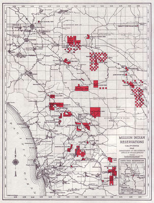 Map of Mission Indian Reservations, showing the unusual checkerboard pattern pertinent to the Agua Caliente Reservation, 1942.