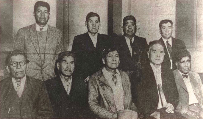 Male Agua Caliente Tribal Leaders, 1937. Seated, left to right: Francisco Patencio,  Moreno Patencio, William Marcus, Lee Arenas, and Pico Manuel; standing, left to right: Clemente Segundo, Albert Patencio, Baristo Sol, and Adam Castillo.