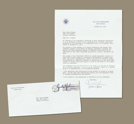 Letter to me from Vice President Lyndon Johnson, October 22, 1963. Vyola was honored to be called upon by Vice President Johnson to participate in a 1963 conference on issues of equal employment opportunities.
